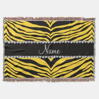 Personalize name yellow tiger stripes throw