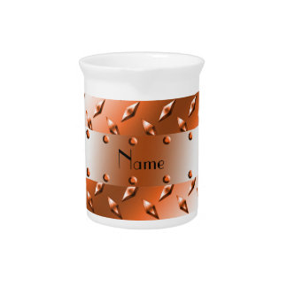 Personalize named orange diamond steel plate drink pitcher