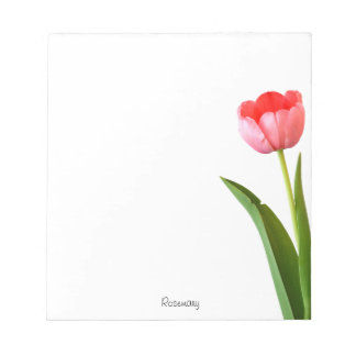 Personalize: Nature Photography Minimal Pink Tulip Notepad
