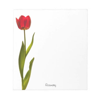 Personalize: Nature Photography Minimal Red Tulip Notepad