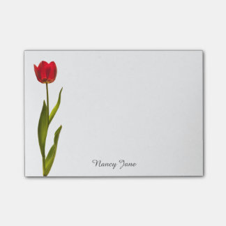Personalize: Nature Photography Minimal Red Tulip Post-it Notes