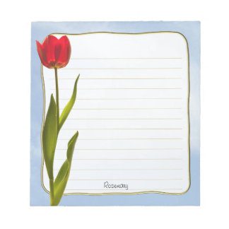 Personalize: Nature Photography Red Tulip Blue Sky Notepad