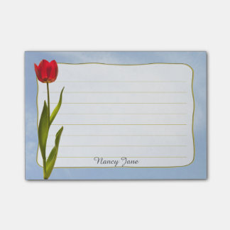 Personalize: Nature Photography Red Tulip Blue Sky Post-it Notes
