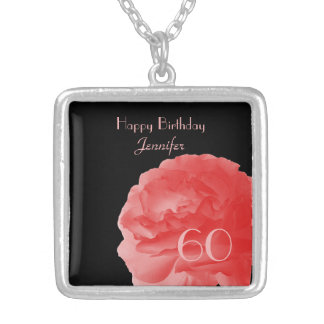 Personalize Necklace Coral Pink Rose 60th Birthday