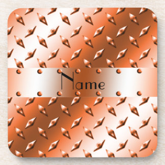 Personalize nombró el diamante anaranjado la placa posavasos de bebidas