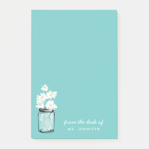 Personalize Note Teal Mason Jar White Daisy Floral