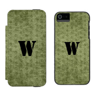Personalize Nubby Army Green Chenille Likeness iPhone SE/5/5s Wallet Case