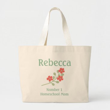 Beach Themed Personalize Number 1 Homeschool Mom Large Tote Bag