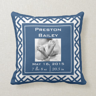 Personalize Nursery Baby Announcement, Navy Blue Throw Pillow