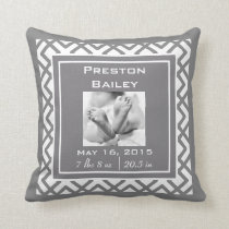 Personalize Nursery Birth Announcement, Gray Throw Pillow