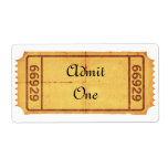 PERSONALIZE - Old Blank Admission Ticket Shipping Label