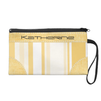 Personalize: Old Gold and White Vertical Stripes Wristlet Purse