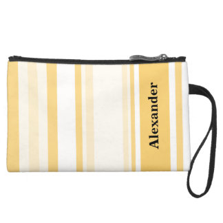Personalize: Old Gold and White Vertical Stripes Wristlet