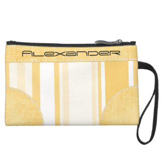 Personalize: Old Gold and White Vertical Stripes Wristlet Clutch