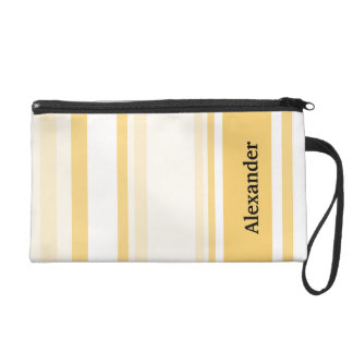 Personalize: Old Gold and White Vertical Stripes Wristlets