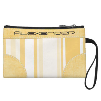 Personalize: Old Gold and White Vertical Stripes Wristlet Purses