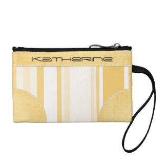 Personalize: Old Gold and White Vertical Stripes Change Purses