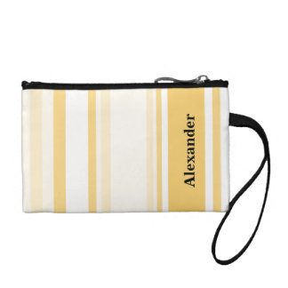 Personalize: Old Gold and White Vertical Stripes Coin Purses