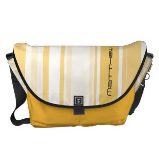 Personalize: Old Gold and White Vertical Stripes Courier Bag