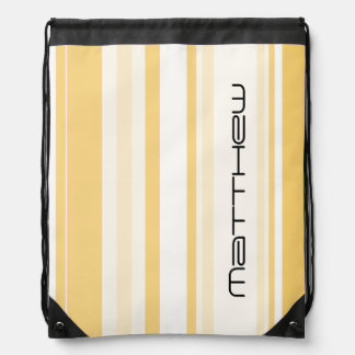 Personalize: Old Gold and White Vertical Stripes Drawstring Bag