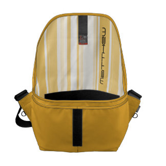 Personalize: Old Gold and White Vertical Stripes Messenger Bag