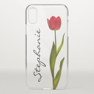 Personalize:  One Red Tulip Floral Photography iPhone X Case