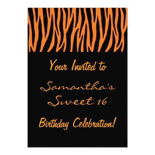Personalize Orange and Black Zebra Invites