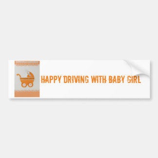 Personalize Orange baby carriage Bumper Sticker