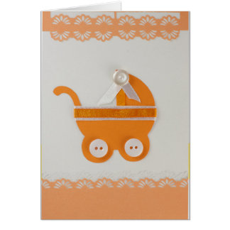 Personalize Orange baby carriage with white button Card