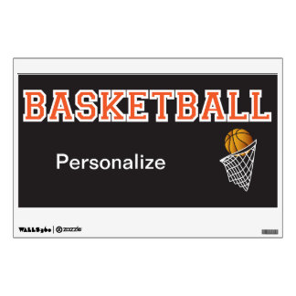 Personalize Orange Basketball Wall Sticker