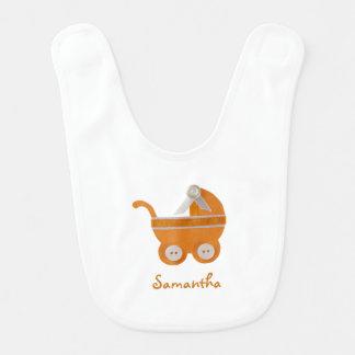 Personalize Orange carriage baby shower Bib