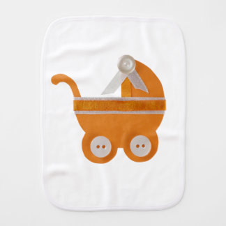 Personalize Orange carriage baby shower Burp Cloth