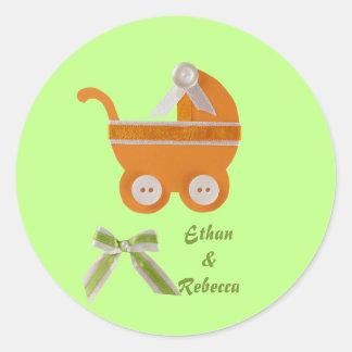 Personalize Orange carriage baby shower Classic Round Sticker