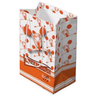 Personalize Orange Cheerleader Medium Gift Bag