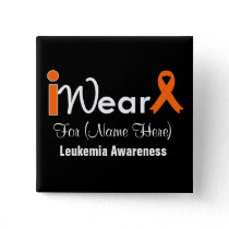 Personalize Orange Ribbon Leukemia Button