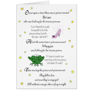 Personalize our Funny Fairy Tale Engagement Card