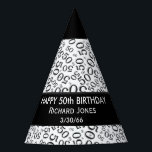 """Personalize: Over The Hill 50th Birthday Theme Party Hat<br><div class=""""desc"""">Easily personalize the three lines of text with templates. Congratulations! It&#39;s time to celebrate! You have survived for 50 years on this planet and that is a &quot;Big Deal&quot;. This design is a black and white abstract background of the number fifty (50) repeated in varied sizes and angles in an...</div>"""