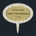 """Personalize: Over The Hill 70th Birthday Theme Cake Topper<br><div class=""""desc"""">Easily personalize the three lines of text with templates. Congratulations! It&#39;s time to celebrate! You have survived for 70 years on this planet and that is a &quot;Big Deal&quot;. This design is a gold and white abstract background of the number seventy (70) repeated in varied sizes and angles in an...</div>"""