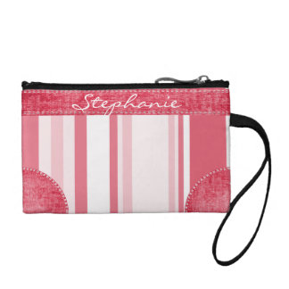 Personalize: Passionate Red and White Stripes Coin Purses