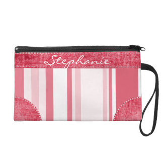 Personalize: Passionate Red and White Stripes Wristlet Purse