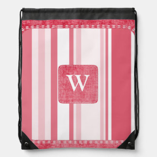 Personalize: Passionate Red and White Stripes Drawstring Backpack