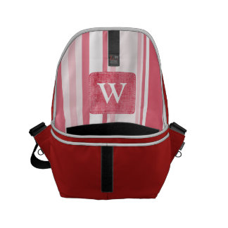 Personalize: Passionate Red and White Stripes Small Messenger Bag