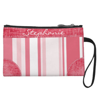 Personalize: Passionate Red and White Stripes Wristlet