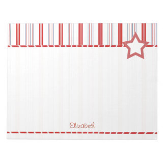 Personalize:  Patriotic Red White and Blue Stripes Notepad