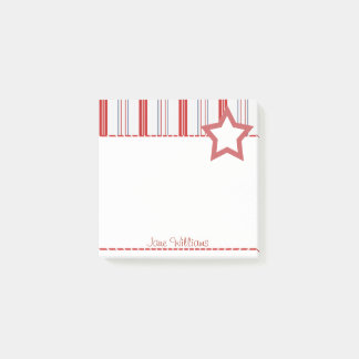 Personalize:  Patriotic Red White and Blue Stripes Post-it Notes