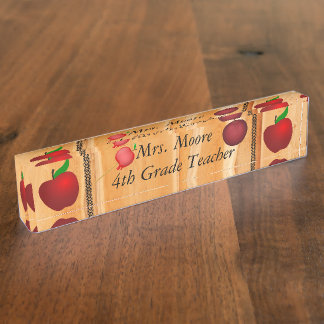 Personalize Pattern Apple Art Name Teacher Class Desk Name Plate