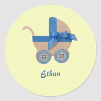 Personalize Peach and blue baby carriage Classic Round Sticker