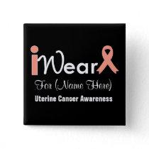 Personalize Peach Ribbon Uterine Cancer Pinback Button