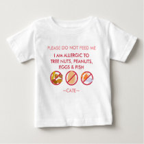 Personalize Peanut Tree Nut Egg & Fish Allergy Kid Baby T-Shirt