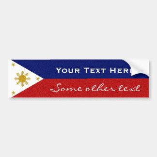Personalize Philippines Glitter Flag Bumper Sticker